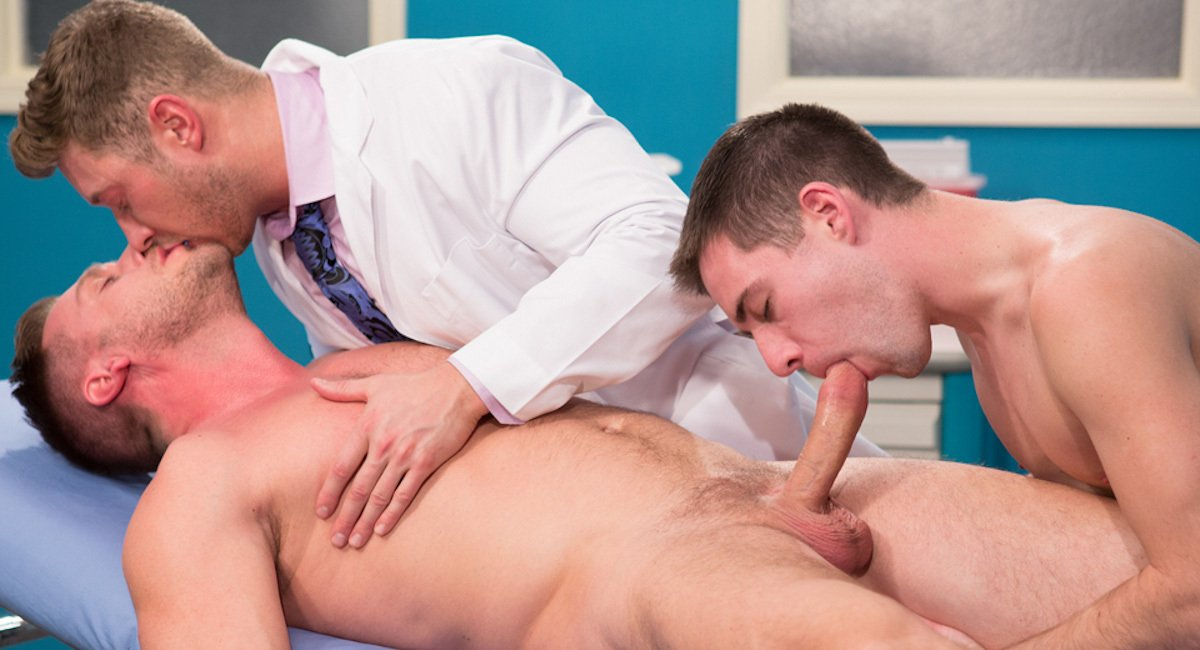 Adult Young Boy Take Medical Exam By Bald Doctor Hospital Adventure