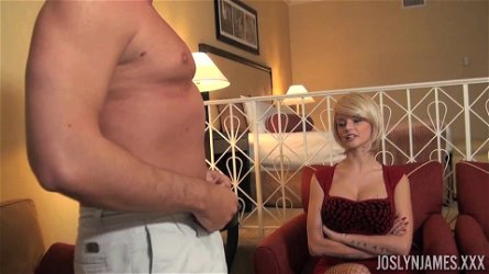 Blonde Joslyn James pleases a neighbor by screwing with him