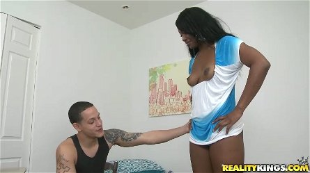 Trina Boss blows and gets her black snatch fucked from behind