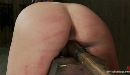 Charlie Ann Stuck in Pillory for a Spanking and Toying BDSM Session