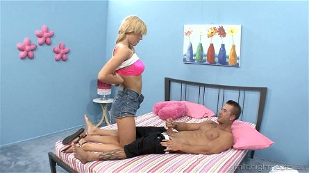 Cum-thirsty blonde Victoria White rides a hose and gets her muff doggy fucked
