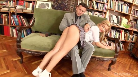 Kinky dude fucks and spanks sexy babe Bibi Noel in the library