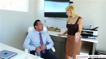 Ample breasted secretary Sarah Vandella hooks up with her handsome boss