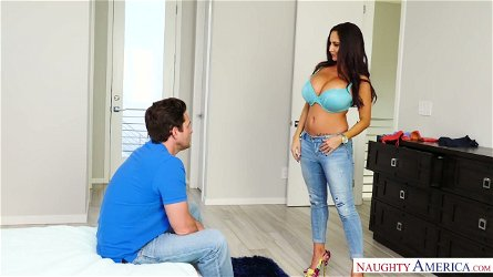 Mega busty French milf Ava Addams caught her son-in-low sniffing her delicates and jerking off his cock