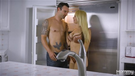 Sarah Vandella gets to choke on a handsome hunk's dick