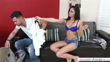 Beautiful brunette Ariana Marie shows blowjob master class before steamy sex with her BF