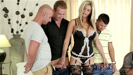 Hot tempered studs drill all holes of insatiable bitch in sexy lingerie Klarisa Leone