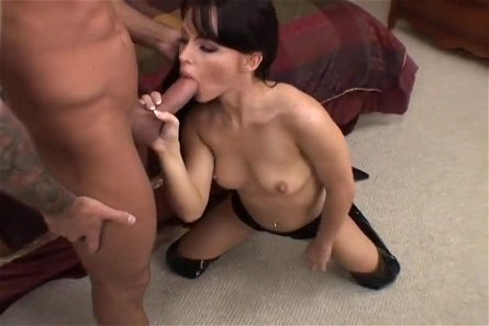 Brunette Cock Gagger Swallows Dick & Cum