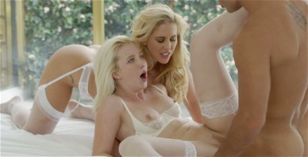Cherie Deville and Samantha Rone experience hardcore anal fuck in threesome