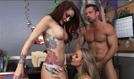 Stunning porn stars Monique Alexander and Nicole Aniston fuck Johnny Castle in the office