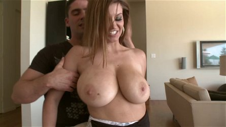 Big titted Sara stone performs titjob then drilled missionary in close up shoot