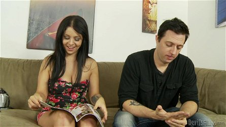 Mark Zane lets horny long-haired brunette Madelyn Monroe ride his dick
