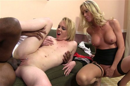 Dumpy blond sluts Simone Sonay and Miley May please black stud