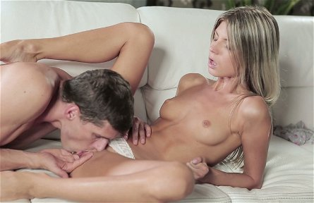 Handsome boy eats tasty kitty of his fair haired slim babe Gina Gerson