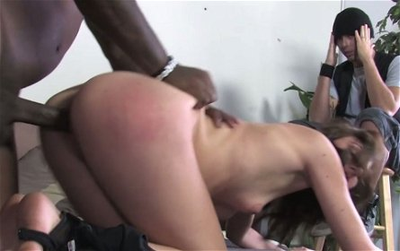 Small breasted brunette cutie Katie Angel rides and blows gigantic black penis
