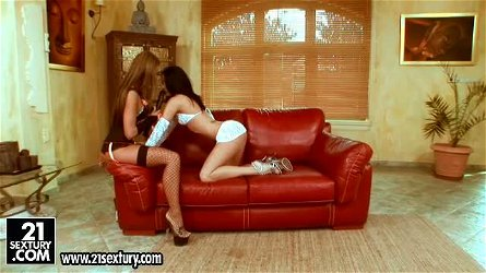 Christina Bella and Suzy Black enjoy tasting and toying each other's vags