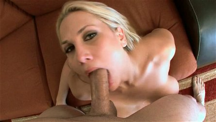 Big bosomed blond sex doll Alanah Rae gives nice BJ and boob fuck