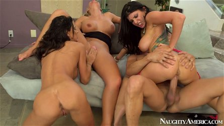 Professional porn actresses Jessica Jaymes, Phoenix Marie and Romi Rain all are filming in one foursome sex action