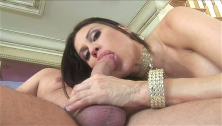 Latin slut Sheila Marie gives a head to massive cock with oversized nuts