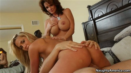 Redhead milf and blonde Alanah Rae attack one guy