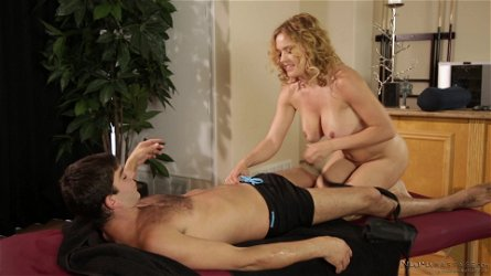 Hot Krissy Lynn massaging her fella and licking his schlong