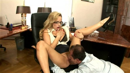 Office porn show with blonde Aleska Diamond