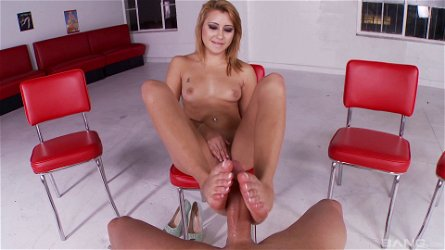 Marina Angel uses her lips and feet to make a cock stiff