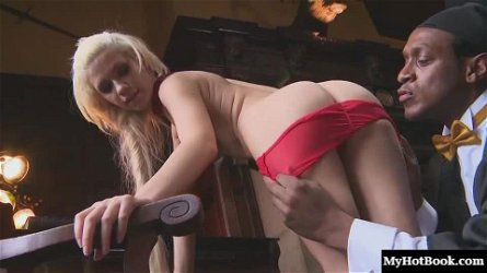 Petite blonde Bibi Noel likes being pounded with a monster black dick