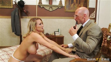 Blake Rose gives a titjob to Johnny Sins & lets him pound her twat
