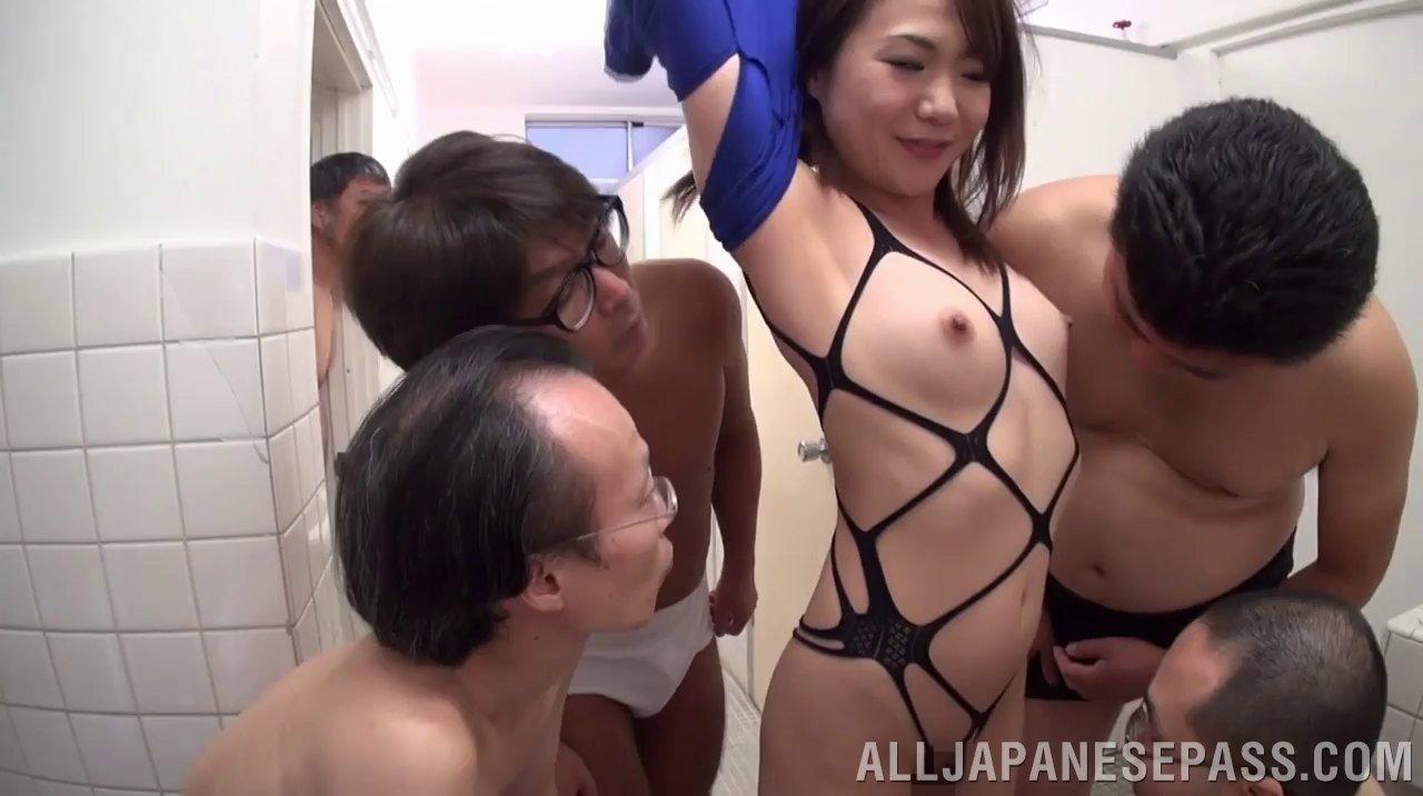 Japanese milf toilet gangbang