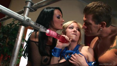 Awesome FFM BDSM sex scene with Hillary Scott and Alektra Blue