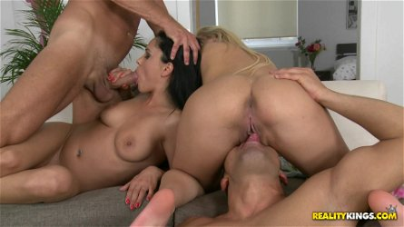 Fantastic foursome banging scene with captivating Aida Sweet