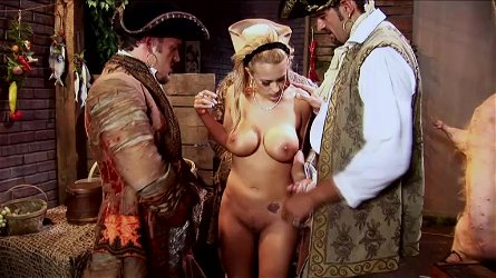Horny Trina Michaels gets banged by two men in costumed video