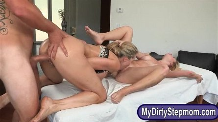Brandi Love and Taylor Whyte sharing bf on massage table