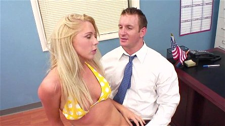 Sexy doll Brynn Tyler in bikini is sucking huge cock