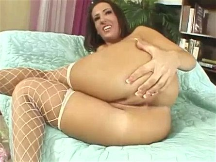 Big assed brunette MILF in white fishnets Richelle Ryan swallows thick cock and then bounces on it greedily