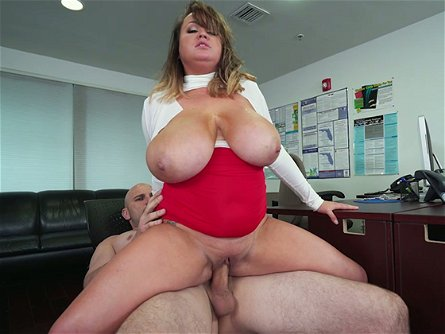 Kinky bald guy bangs fuck starving office BBW Brandy Talore in doggy and reverse poses hard