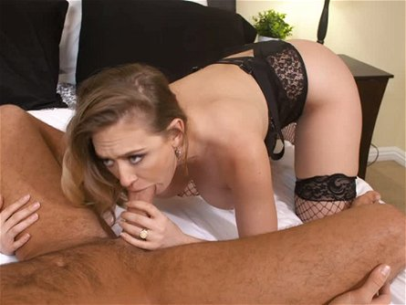 Saucy dark haired bitch in hot fishnets Kagney Linn Karter pleases feverish man with classy deep throat