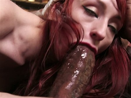 Wanton ginger hoe with red nails Shane Diesel swallows black monstrous penis greedily