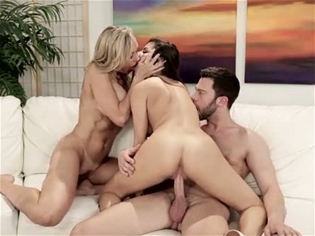 Big boobed blond MILF Brandi Love fights with phat black haired hottie for big hard sausage