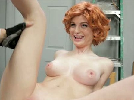 Seductive Faye Reagan in redhead wig screwed in a missionary pose