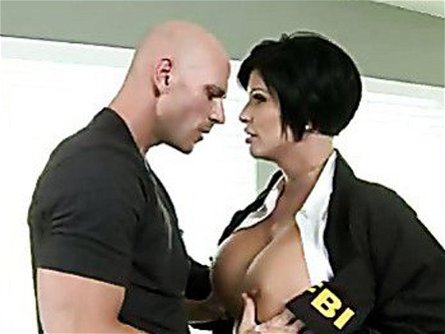Alluring cop Shay Fox gets her monster tits out