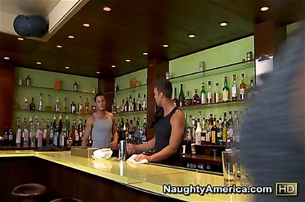 Tori Black and Gracie Glam trade shots of cock while fucking the bar tender.
