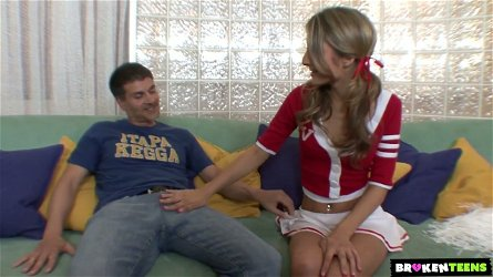 Brown eyed lovely cheerleader Natalia Rossi is happy to ride strong cock on top