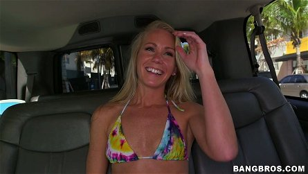 Charming blonde bimbo Sunny Stone shows her tits on camera