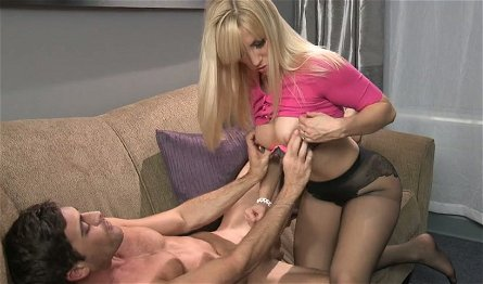 Dissolute blonde hoe Ashley Fires gives a handjob to her fellow