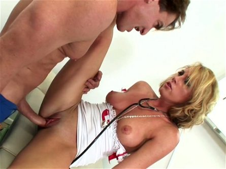 Light haired sweet nurse Nikki Anne gets fucked in mish pose rough