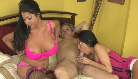 Lucky Indian stud gets his dick sucked by busty sweeties Nadia Night and Miya Monroe