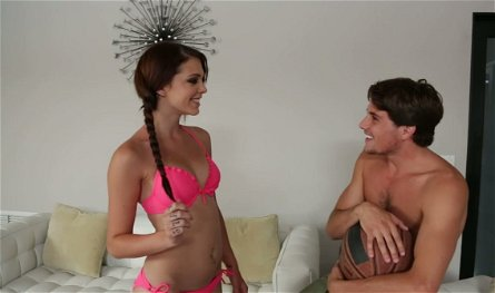 Lusty red haired chick with pigtails Kiera Winters performs hot BJ to Tyler Nixon