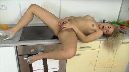 solo action in the kitchen - self-stimulation